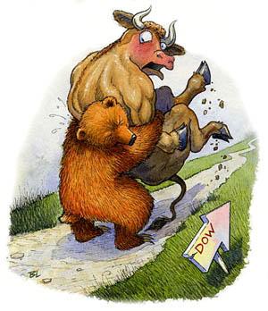 cartoon-bear_bull-paper-money